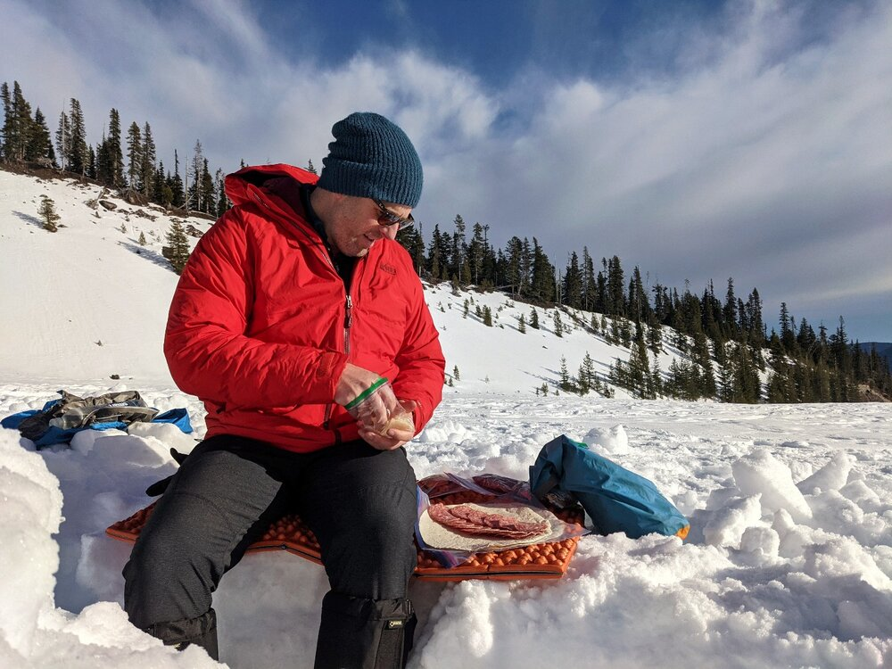 The sun can be really intense on snow camping trips, so make sure to protect your skin & eyes with sunscreen & sunglasses.