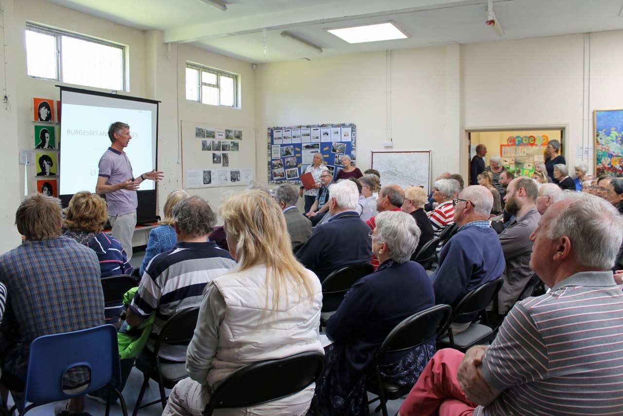 Ken Murphy addressing a packed hall