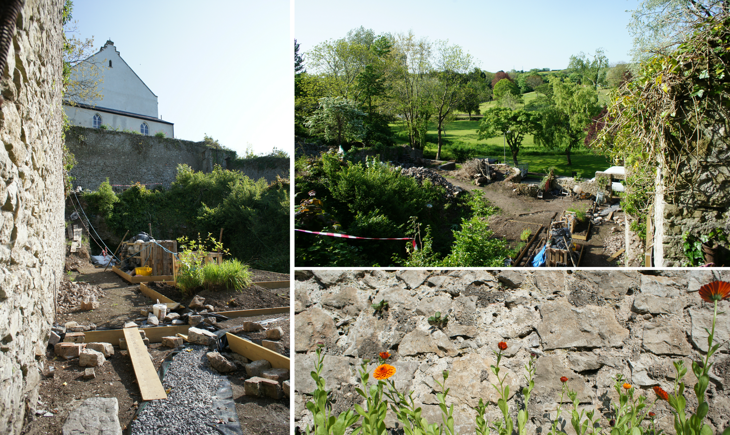 The Pilot Project site where work to conserve the Pembroke town walls is beginning.
