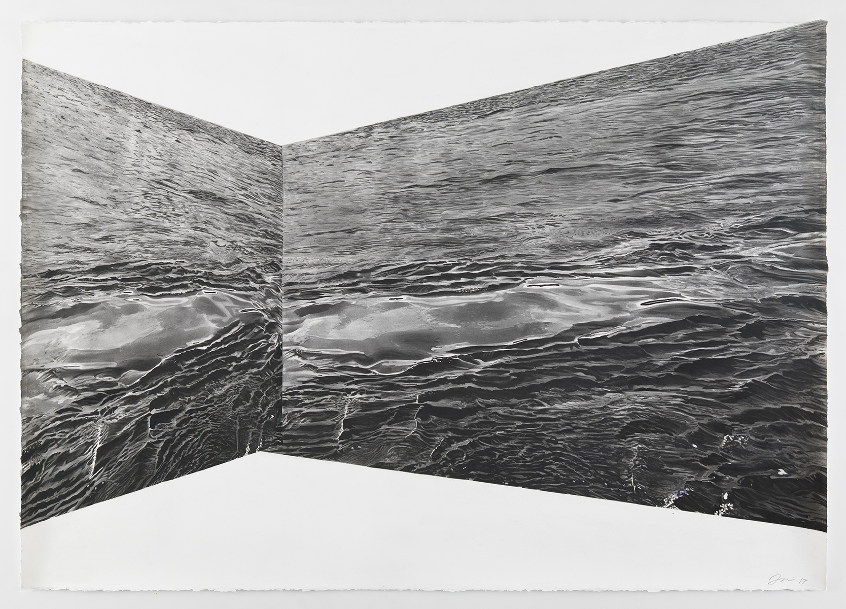 """Skewed Water II, charcoal on paper, 60"""" x 48"""", 2017"""