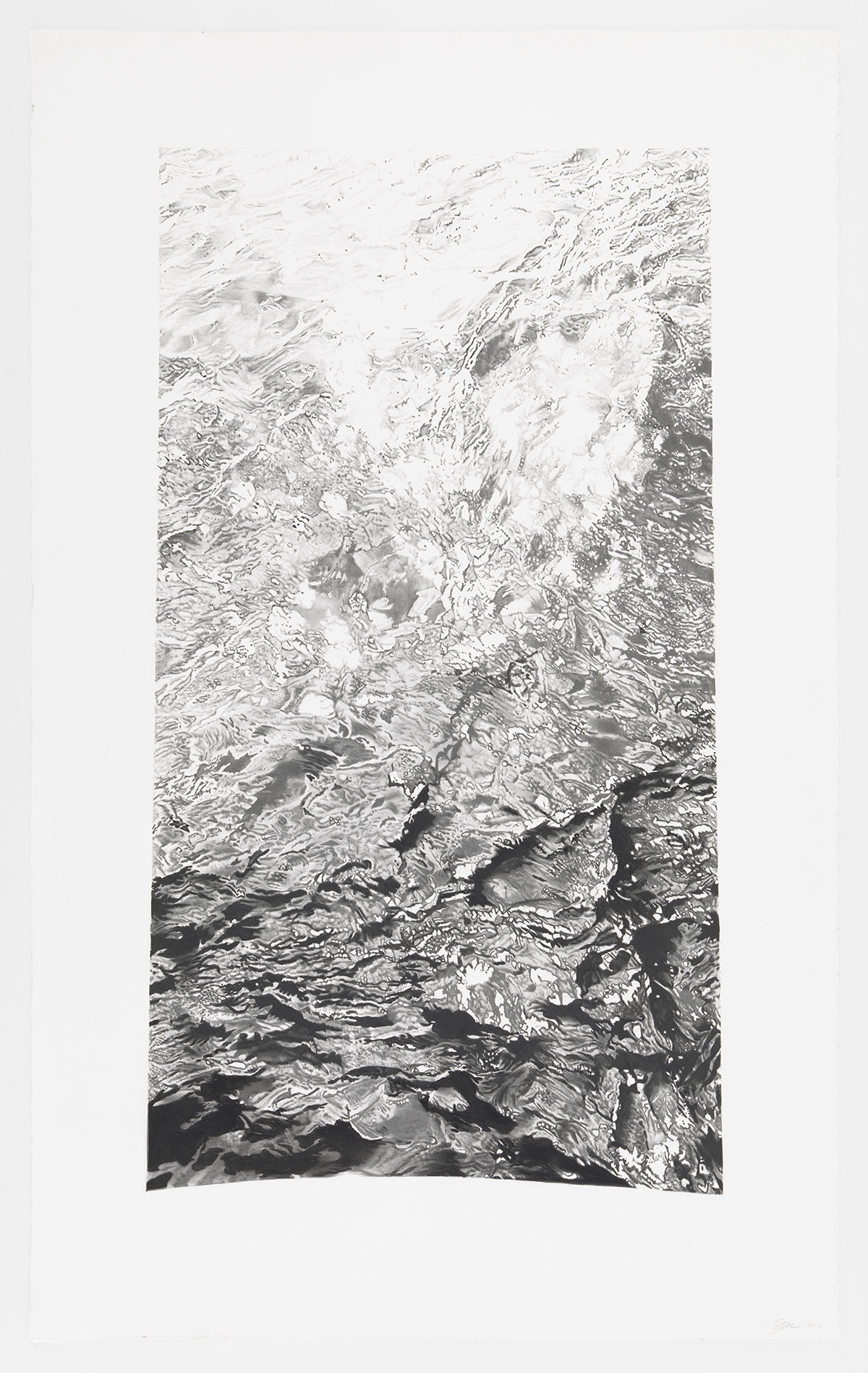 "Inverted Water 5 48.8566° N, 2.3522° E, charcoal on paper, 72"" x 42"", 2018"