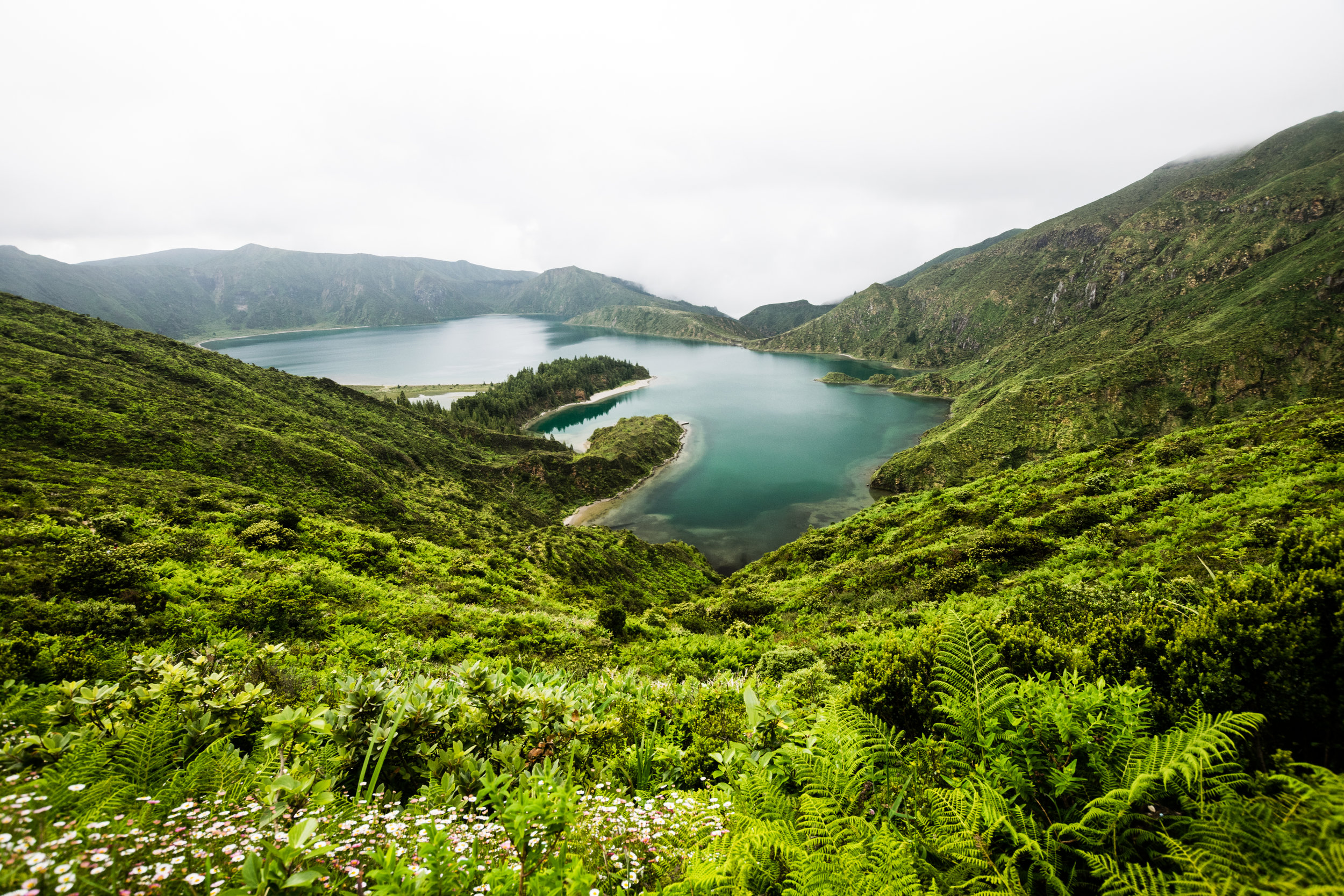 Lagoa Do Fogo is a crater lake within a volcano in the center of the island of São Miguel in the Azores.