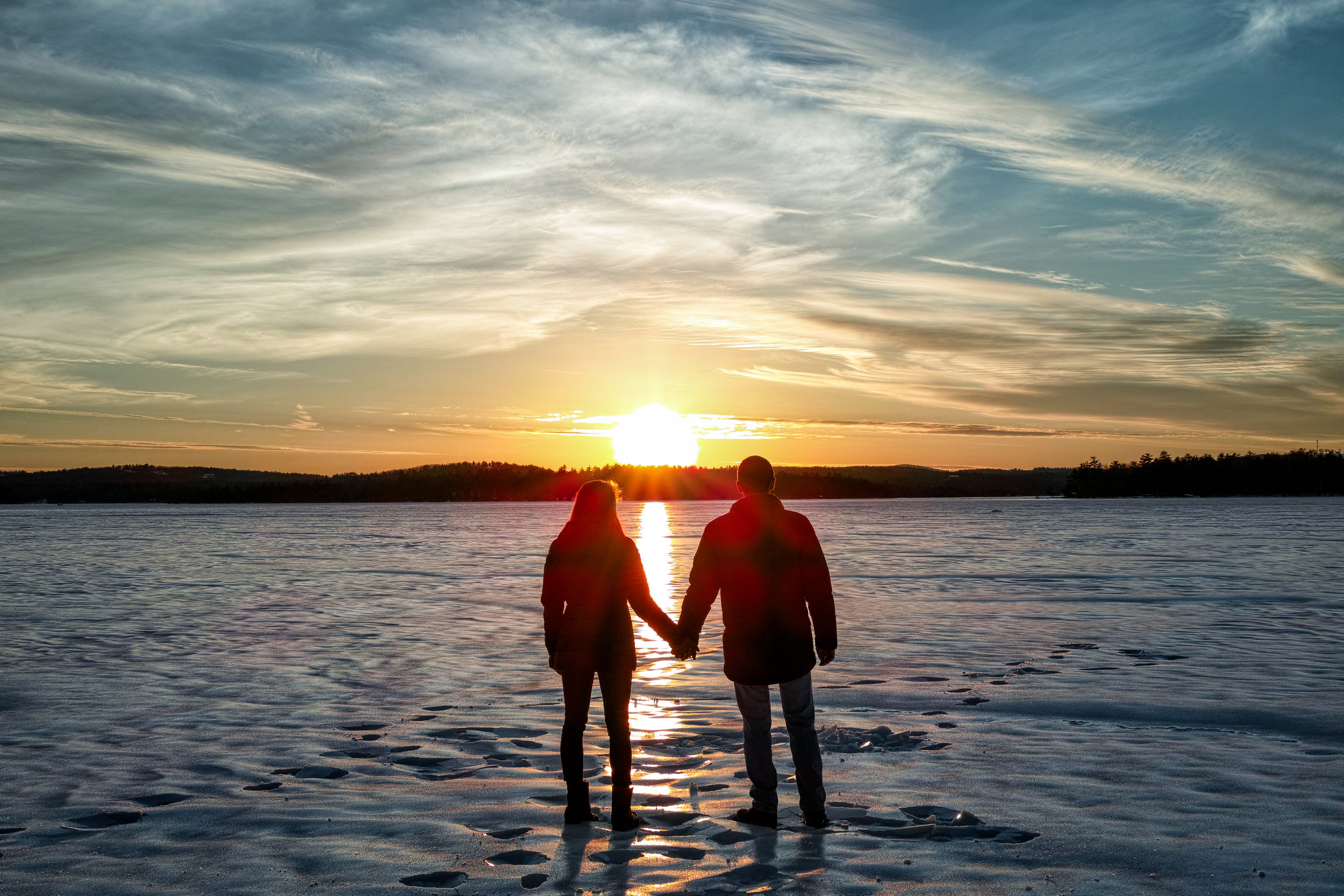 Atop a frozen Lake Winnipesaukee - Moultonborough, NH