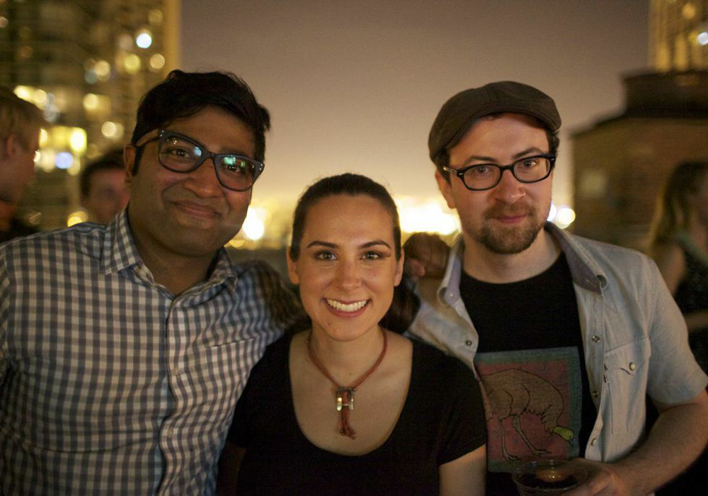 MealSharing.com's founder Jay Savsani, Community Manager Jessica Smith Soto, and lead developer Adam Mark. © Emma Zimmerman