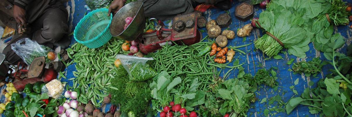 Fresh vegetable market in Delhi