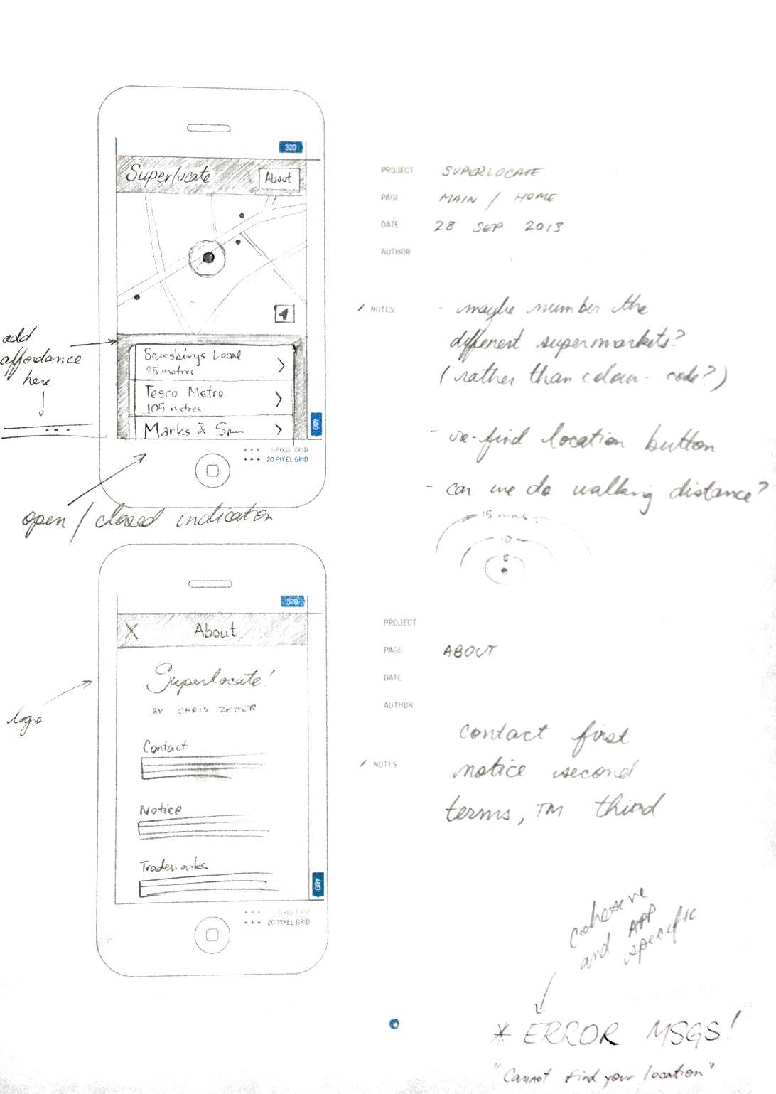 Sketch for main screen (top) and the About/credits screen (below)
