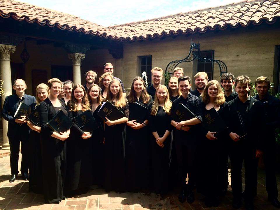 The choir in the beautiful courtyard of St John's Cathedral, LA after Eucharist