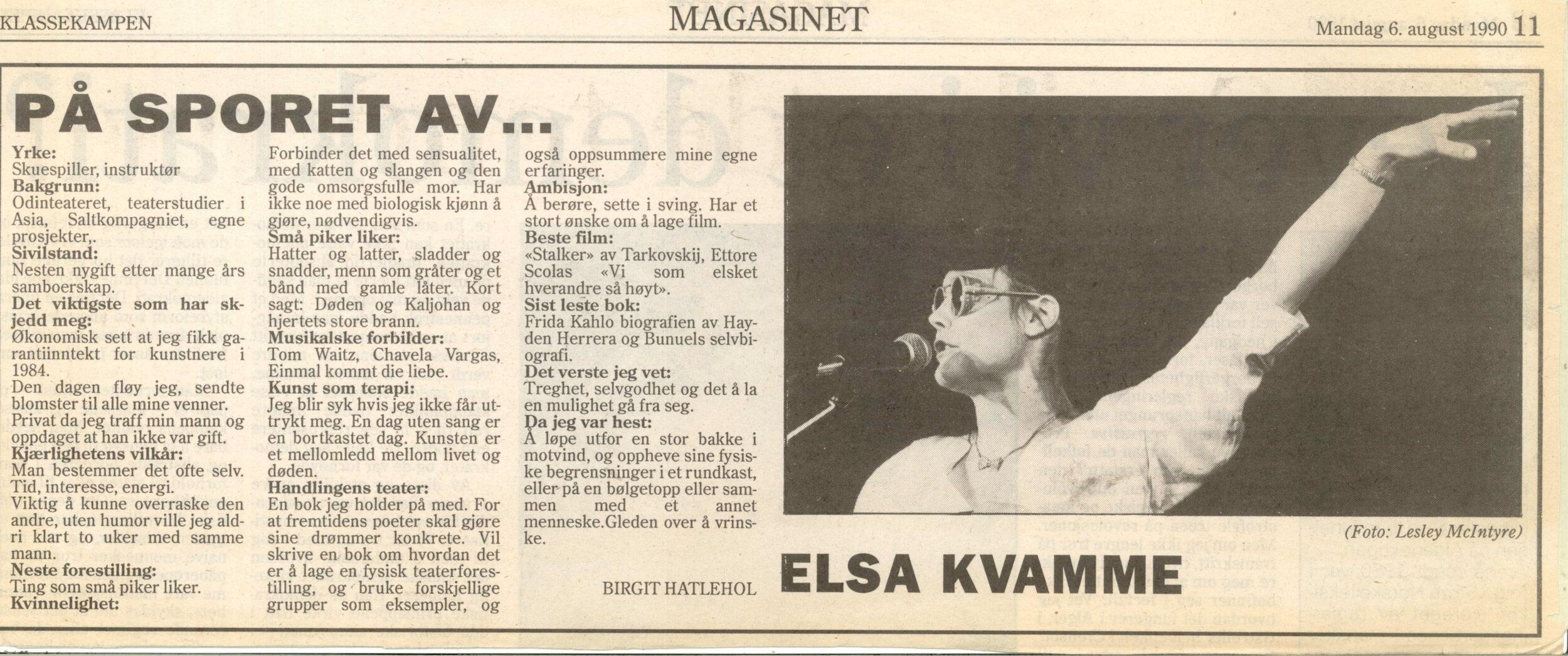 forhåndsomtale_ting som små piker liker_elsa kvamme_klassekampen 06081990_tekst birgit hatlehol.jpg