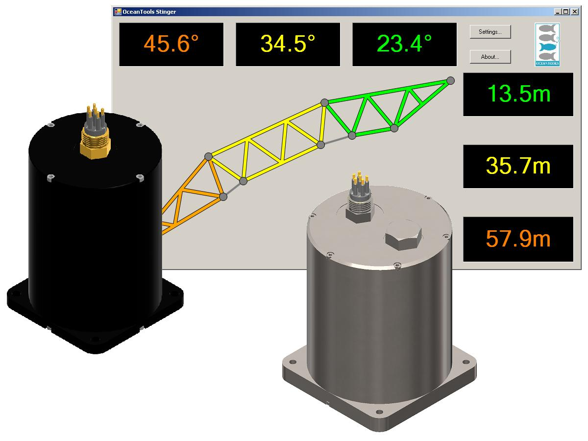 Display software with OceanTILT inclinometer and OceanDEPTH depth sensor