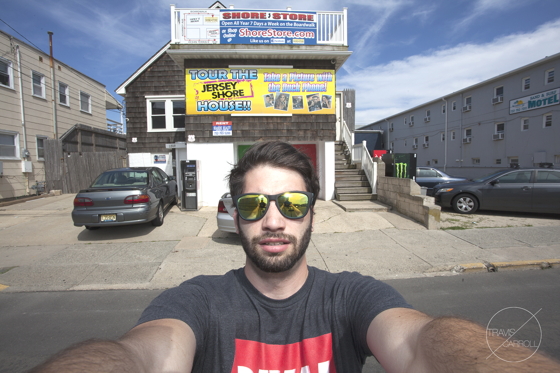 """Trav what are you doing?"" ""Taking a selfie with the Jersey Shore house, duh."""