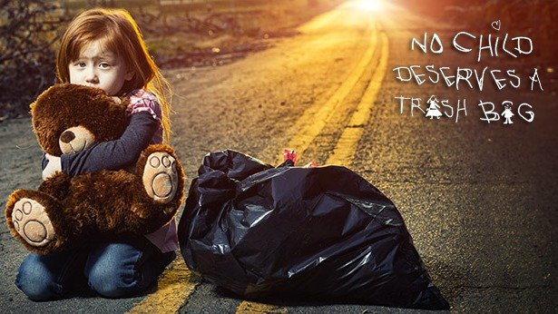 Trash Bags: - Trash bags can't support the contents of any life, and certainly not life as fragile as this. A suitcase, at least, would have added a small degree of dignity to the whole affair.-Social Worker(from