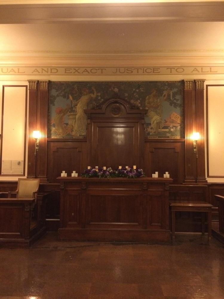 Courtroom set up for a wedding.