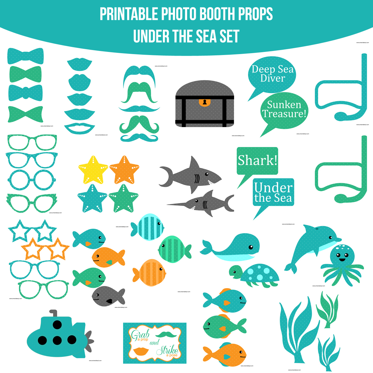 See the Set - View the Whole Under the Sea Printable Photo Booth Prop Set Click Here