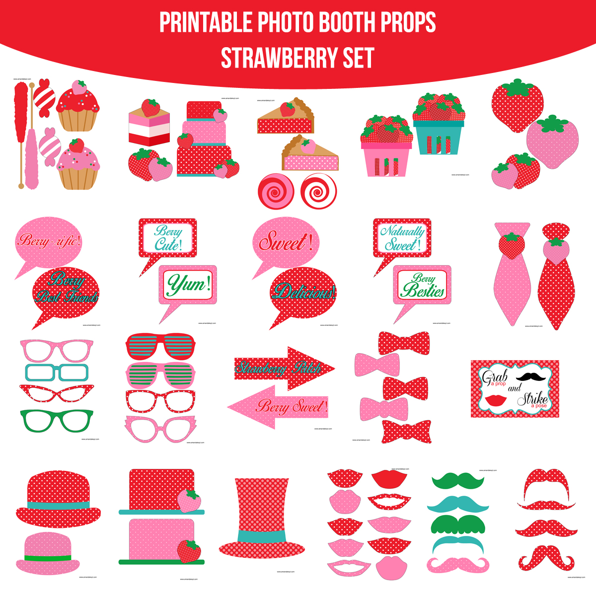 See the Set - To veiw the whole Strawberry Printable Photo Booth Prop Set click here