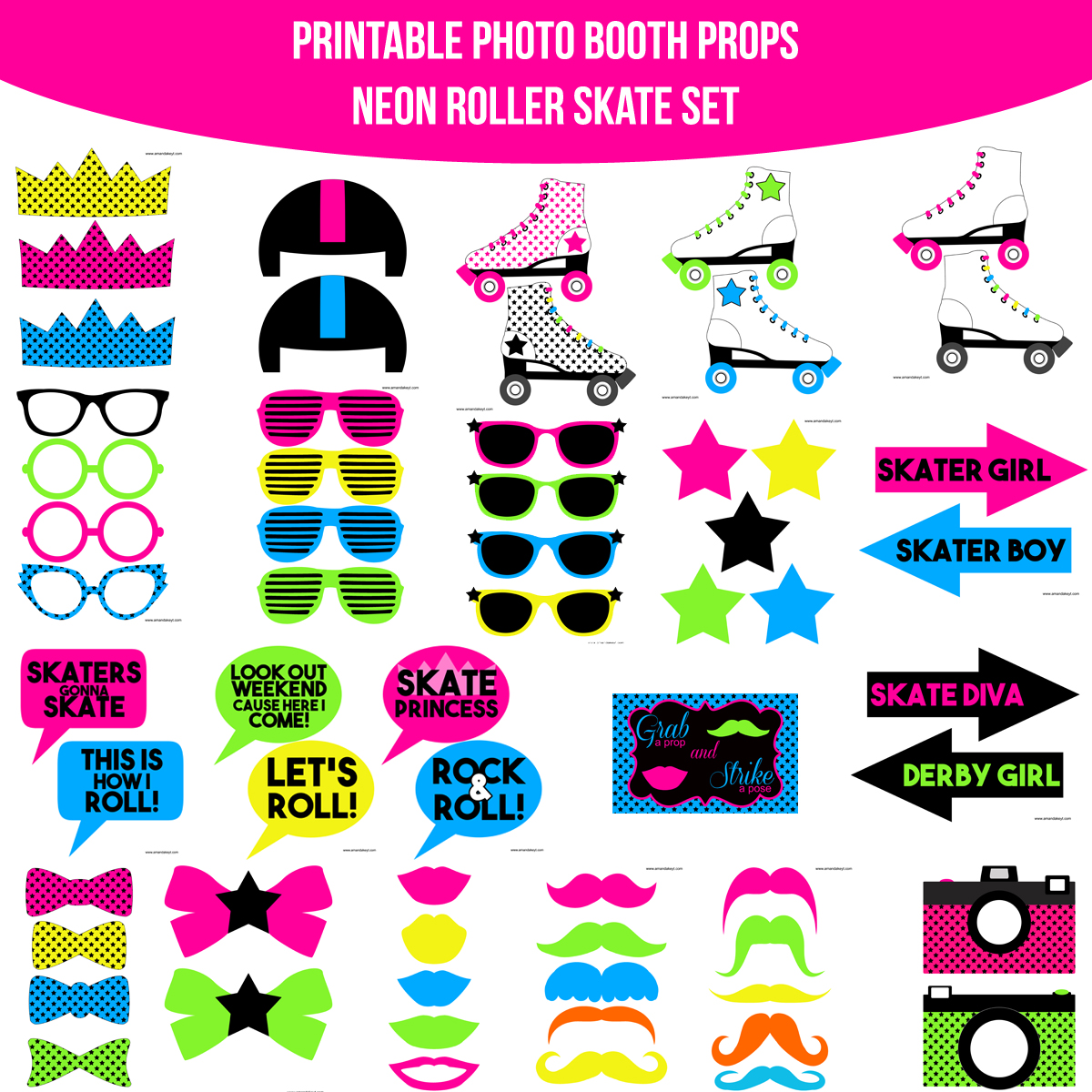 See the Set - To View The Whole Neon Roller Skate Printable Photo Booth Prop Set Click Here