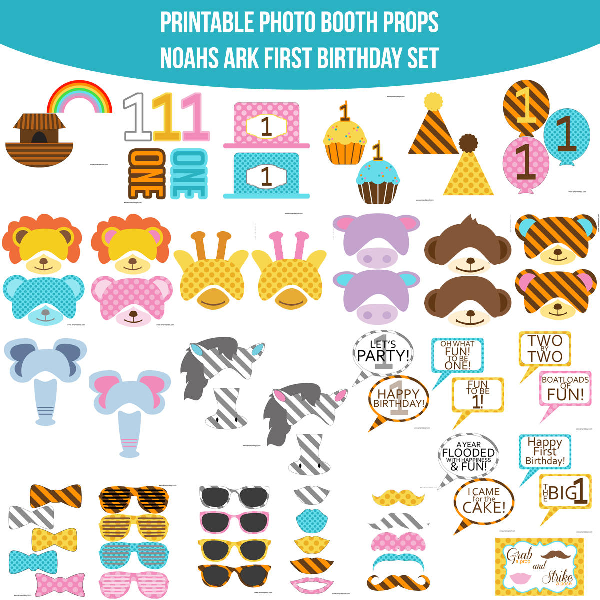 See the Set - To View The Whole Noahs Ark First Birthday Printable Photo Booth Prop Set Click Here