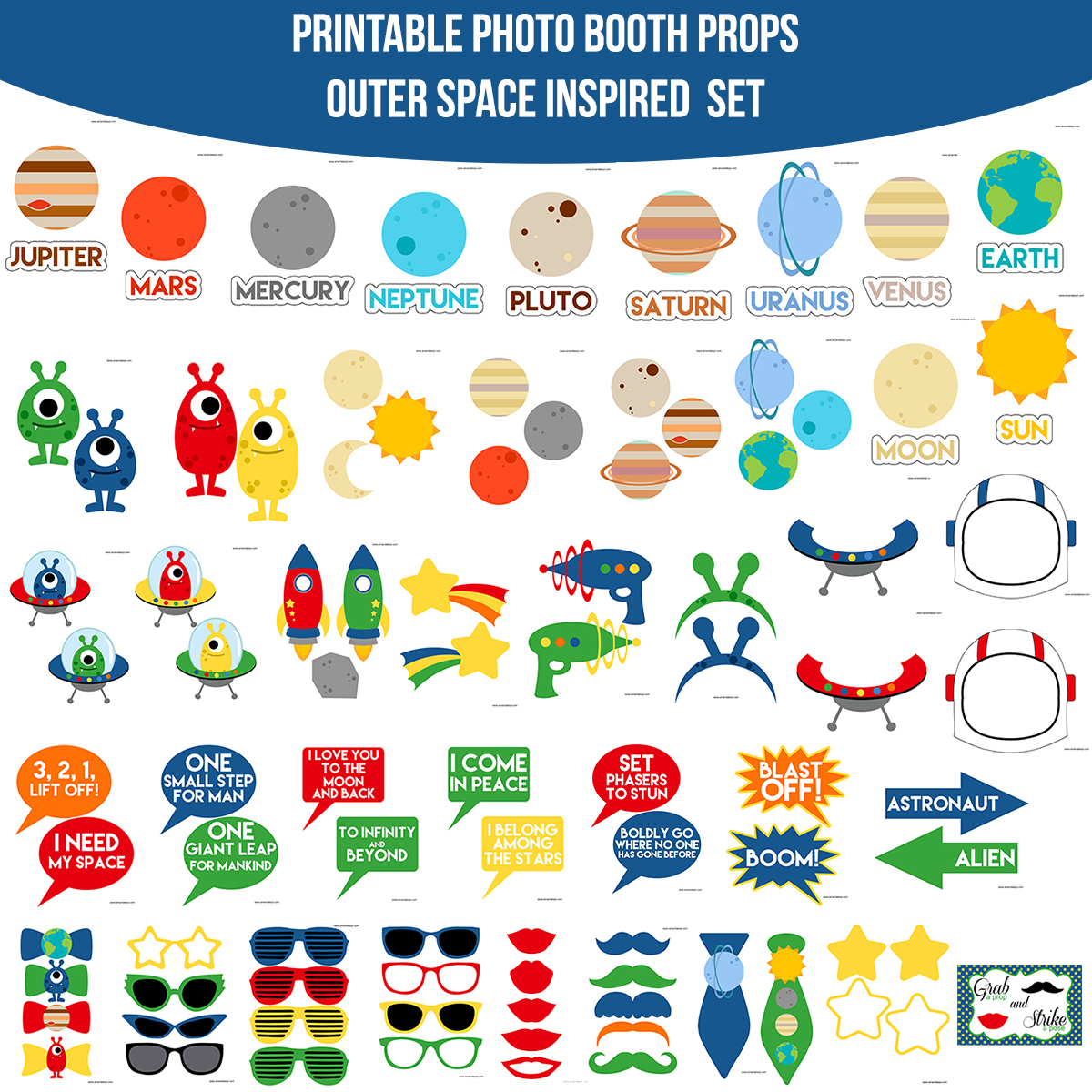 See the Set - To View The Whole Outer Space Printable Photo Booth Prop Set Click Here