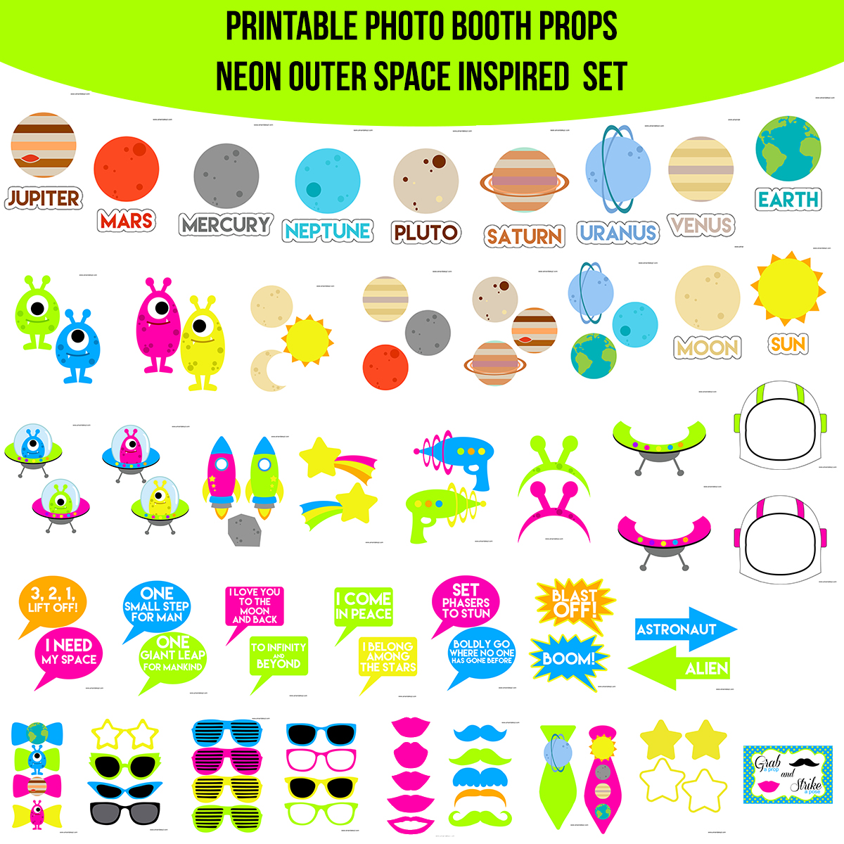 See the Set - To View The Whole Neon Outer Space Printable Photo Booth Prop Set Click Here