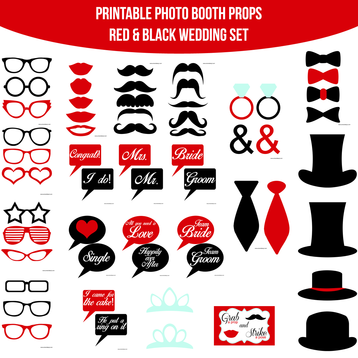 See the Set - To View The Whole Wedding Red Black Printable Photo Booth Prop Set Click Here
