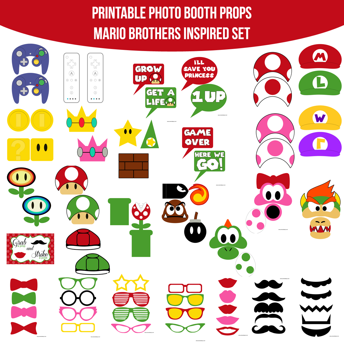 See the Set - To View The Whole Video Game Mario Super Mario Bros Inspired Printable Photo Booth Prop Set Click Here