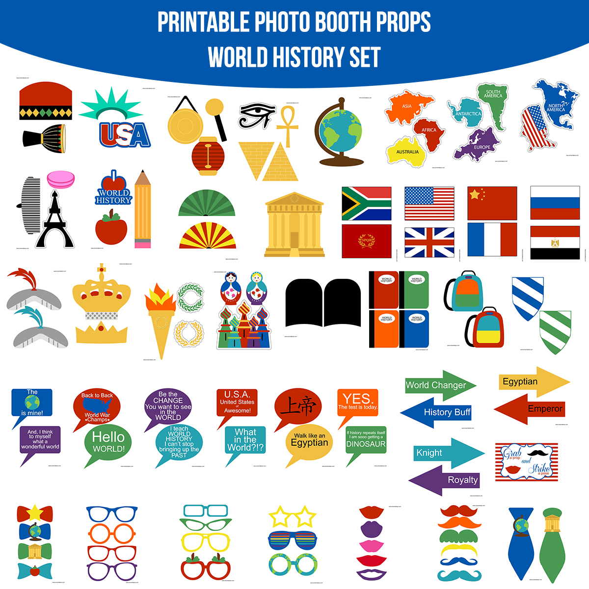 See the Set - To View The Whole World History School Printable Photo Booth Prop Set Click Here