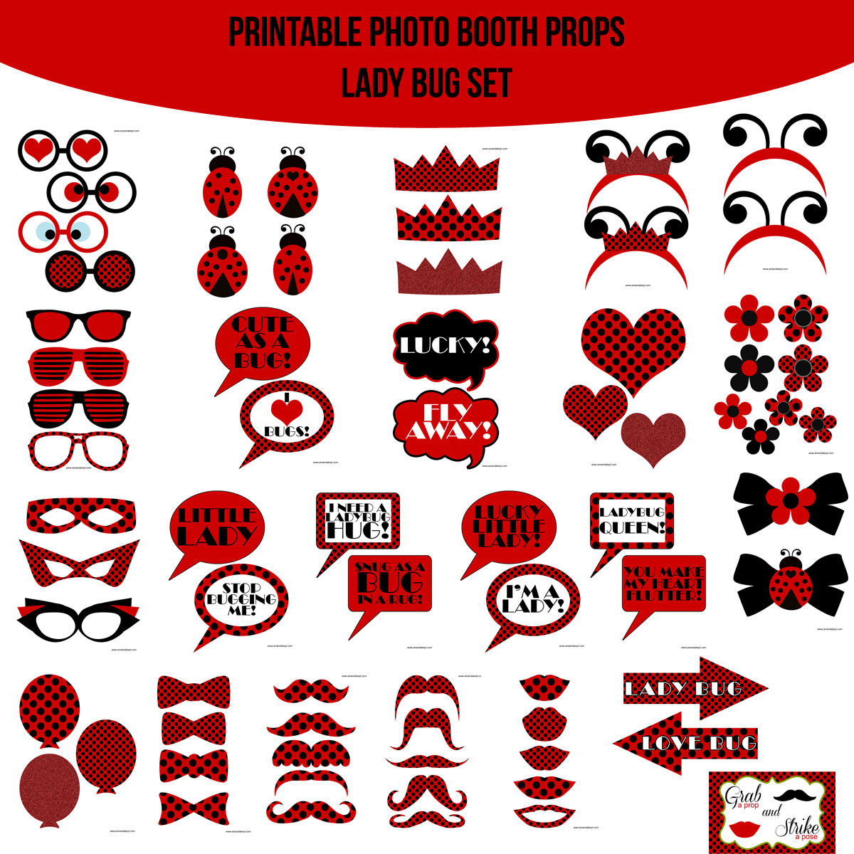 See the Set - To View The Whole Lady Bug Love Bug Printable Photo Booth Prop Set Click Here
