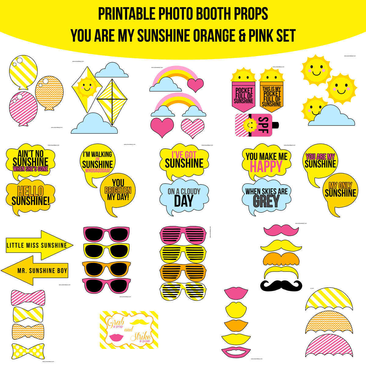 See the Set - To View The Whole Orange You Are My Sunshine Printable Photo Booth Prop Set Click Here