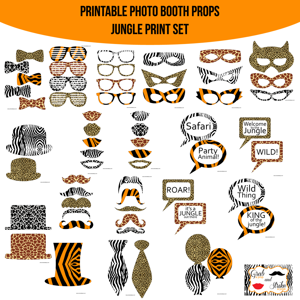 See the Set - To View The Whole Jungle Animal Print Printable Photo Booth Prop Set Click Here