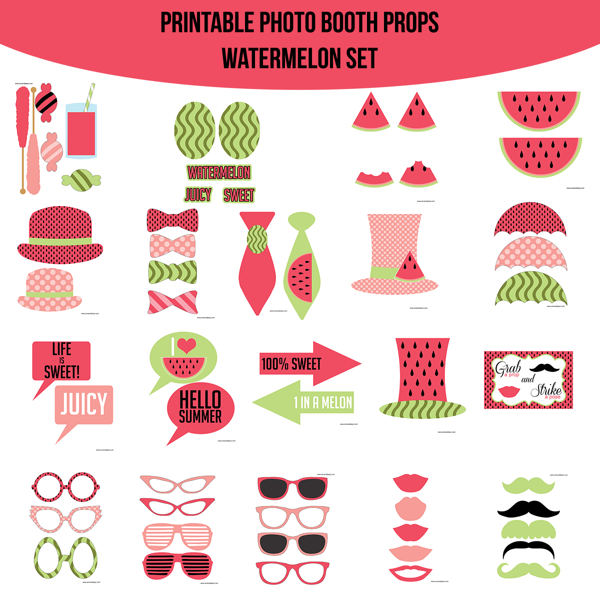 See the Set - To View The Whole Watermelon Printable Photo Booth Prop Set Click Here