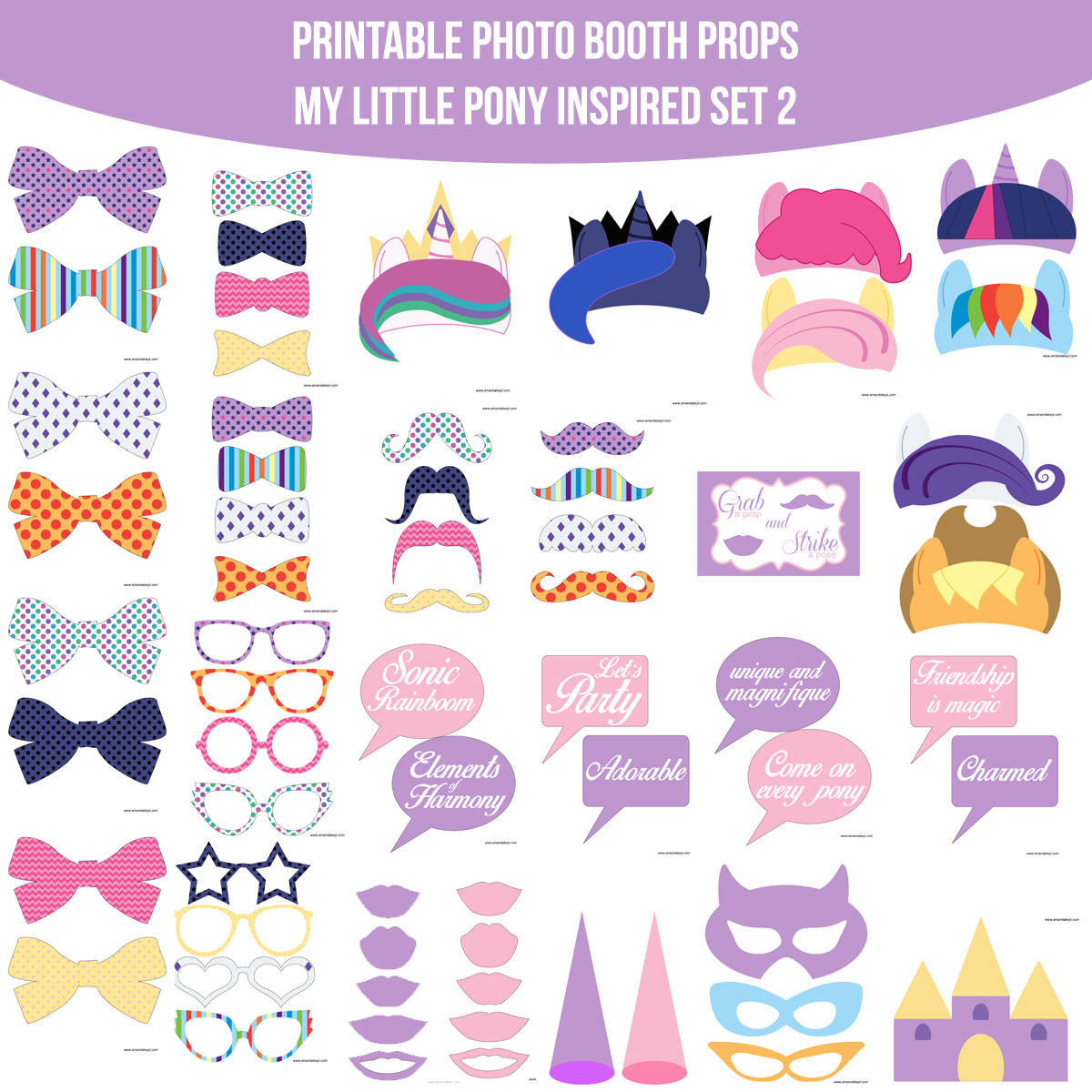 See the Set - To View The Whole Pony MLP My Little Pony Inspired Printable Photo Booth Prop Set 2 Click Here