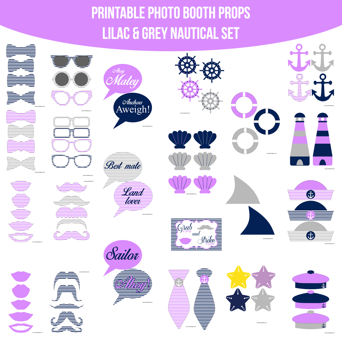 See the Set - To View The Whole Nautical Lilac Grey Printable Photo Booth Prop Set Click Here