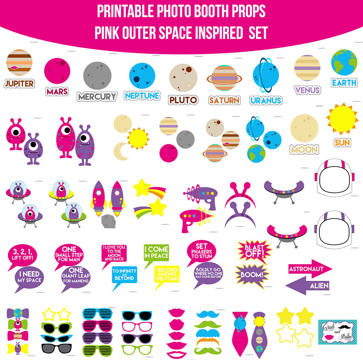 See the Set - To View The Whole Pink Outer Space Printable Photo Booth Prop Set Click Here