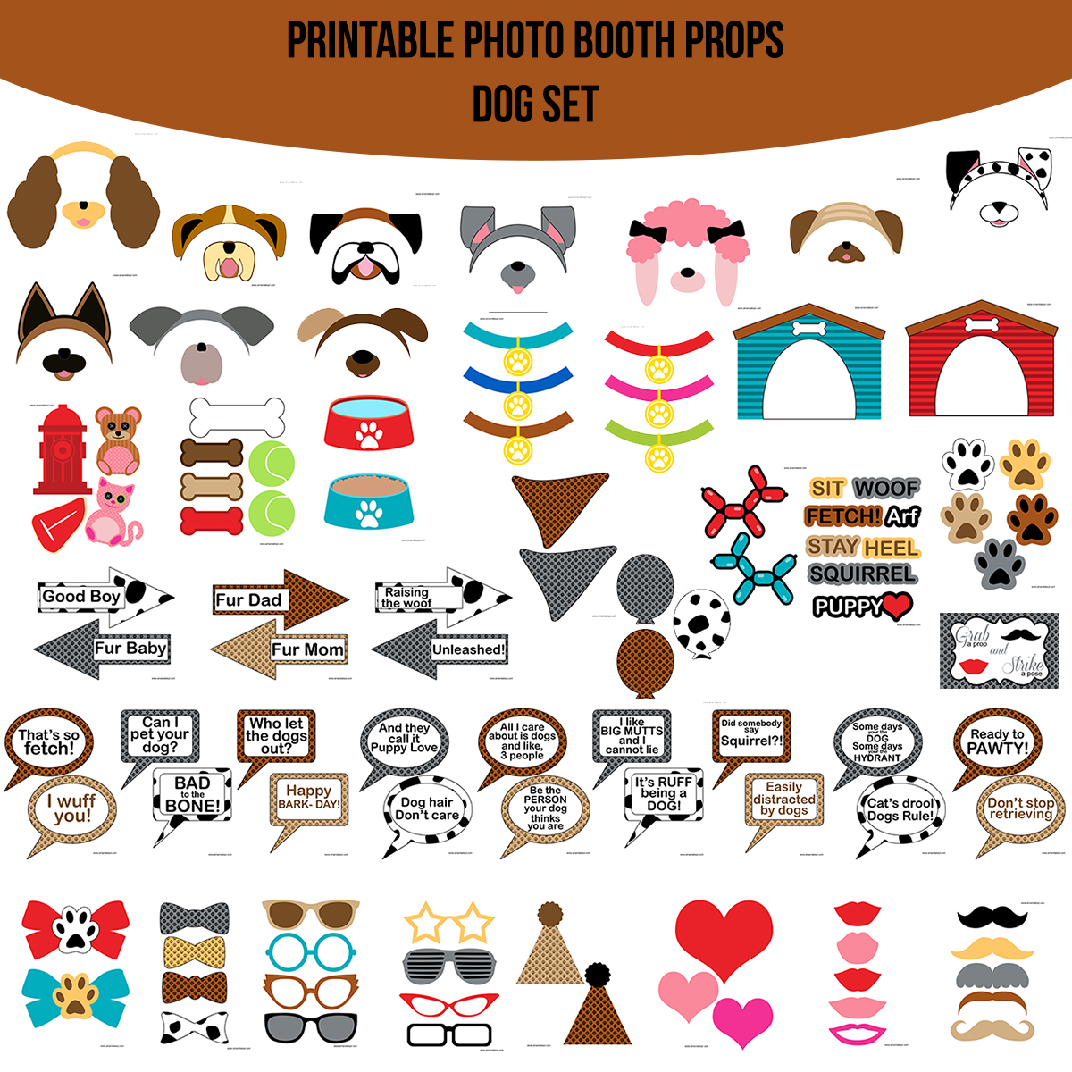 See the Set - To View The Whole Dog Doggy Puppy Printable Photo Booth Prop Set Click Here