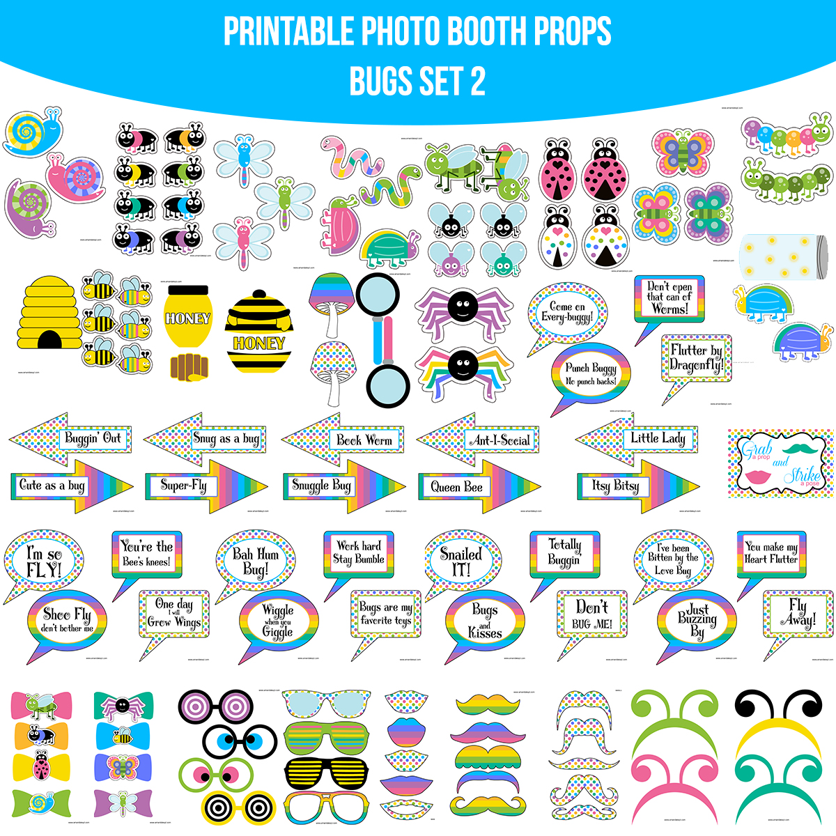 See the Set - To View The Whole Bugs Bug Printable Photo Booth Prop Set 2 Click Here