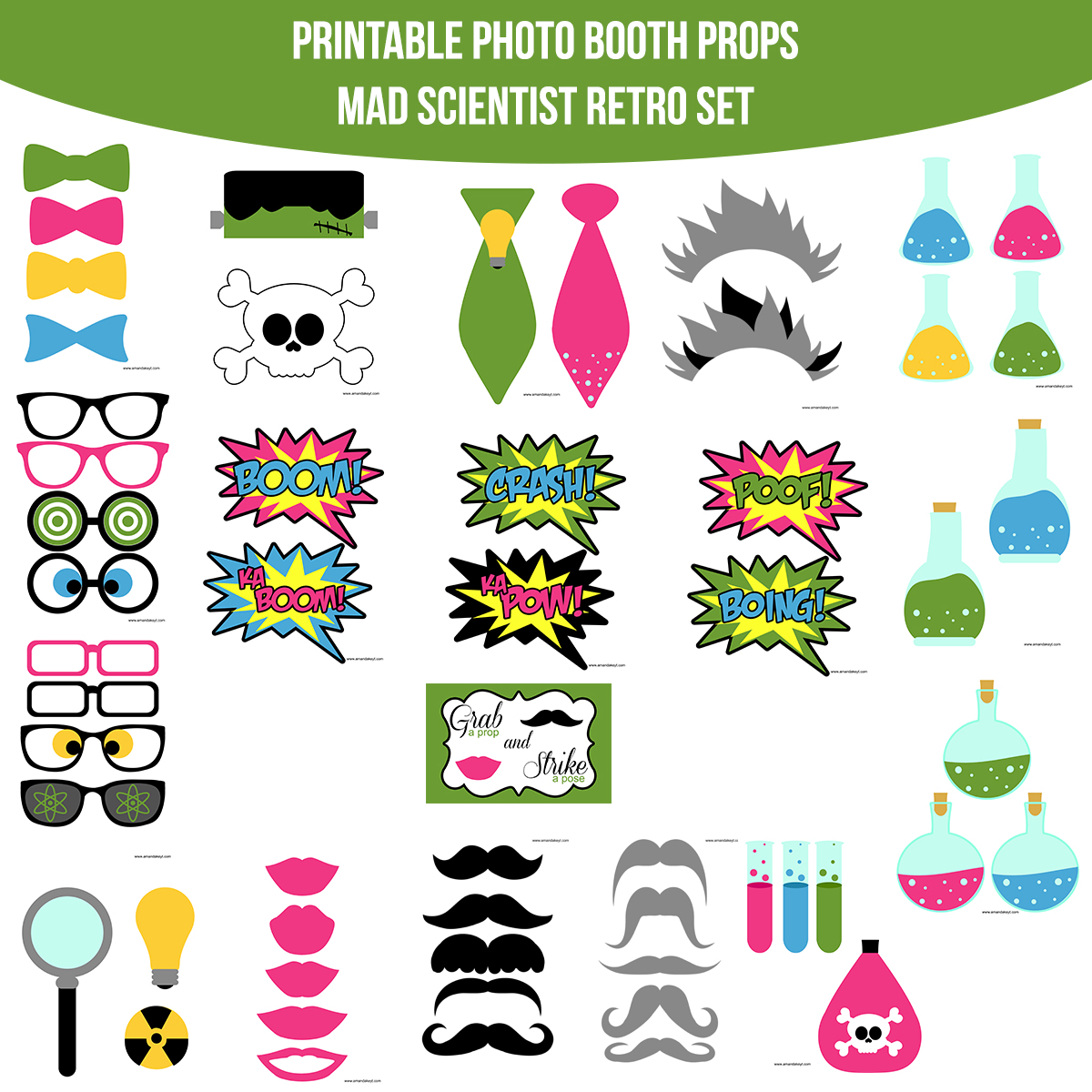 See the Set - To View The Whole Mad Scientist Retro Printable Photo Booth Prop Set Click Here