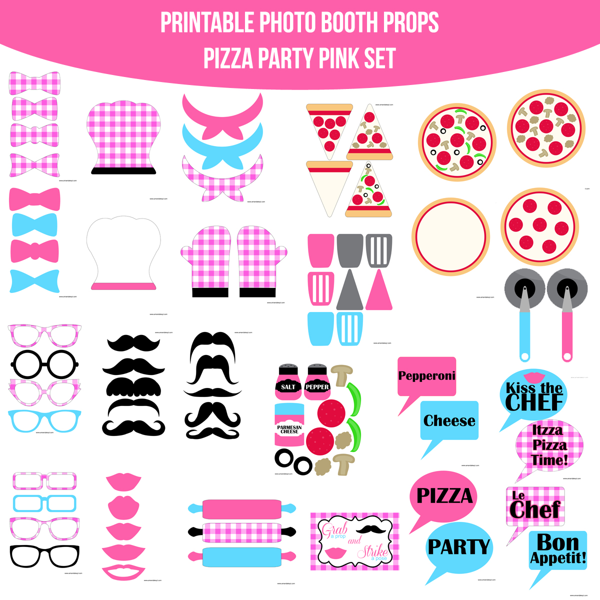 See the Set - To View The Whole Pizza Party Pink Printable Photo Booth Set Click Here