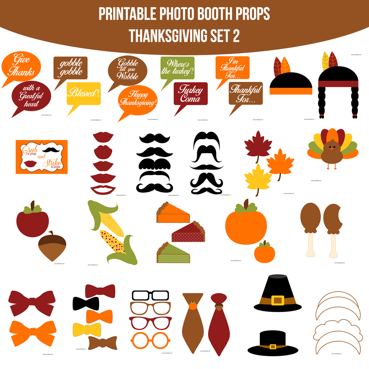 See the Set - To View The Whole Thanksgiving 2 Printable Photo Booth Prop Set Click Here