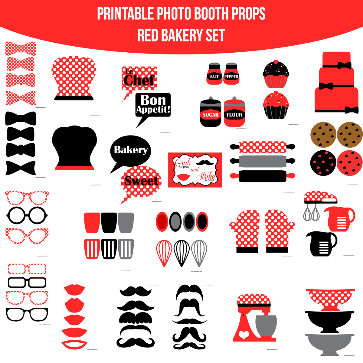 See the Set - To View The Whole Bakery Red Printable Photo Booth Prop Set Click Here