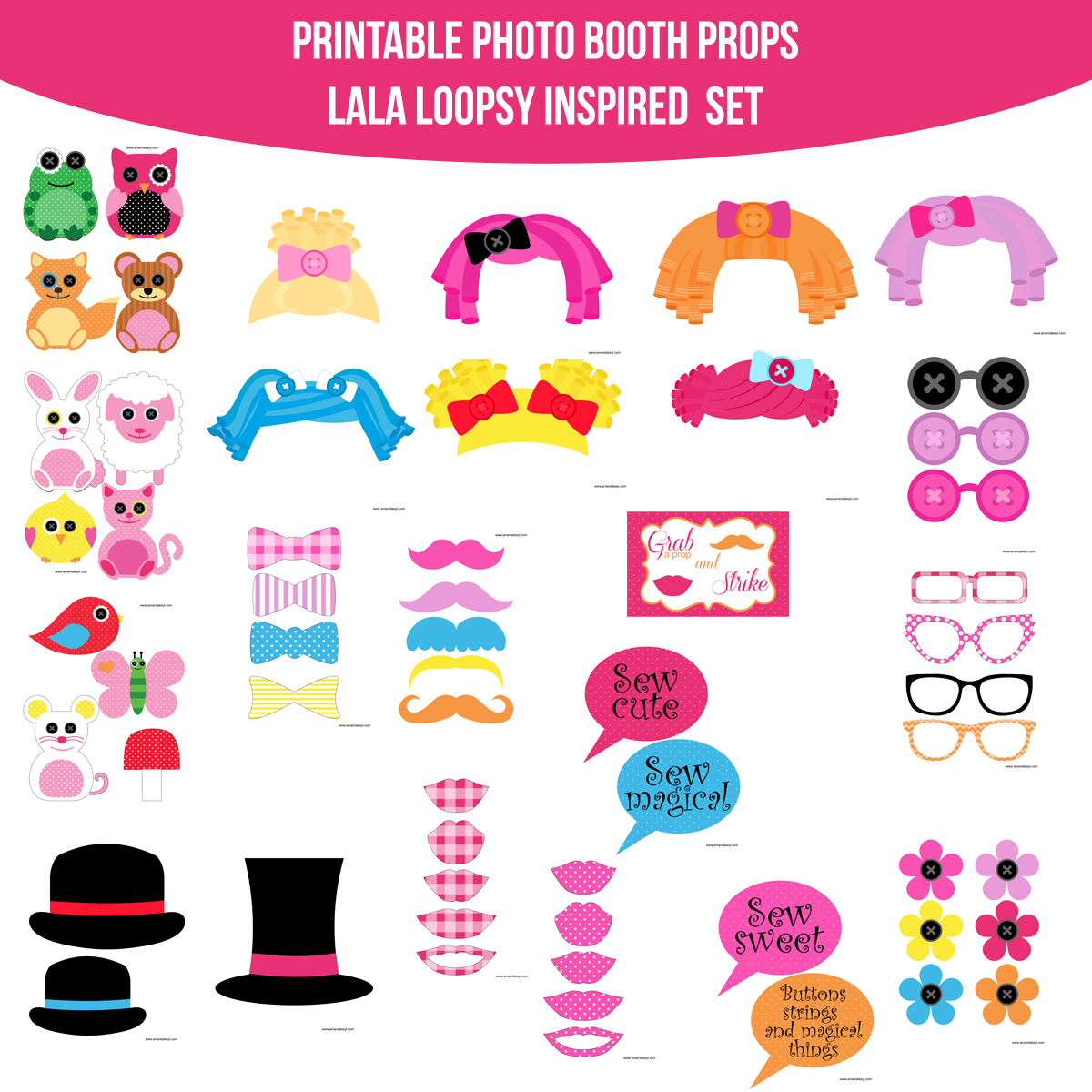 See the Set - To View The Whole Baby Doll Lala Loopsy Inspired Printable Photo Booth Prop Set Click Here