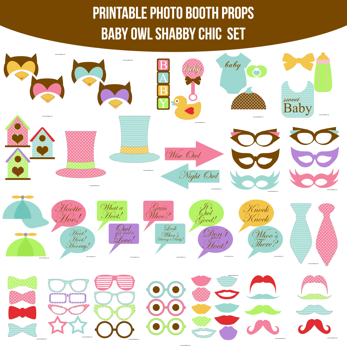 See the Set - To View The Whole Baby Owl Look Whoo Shabby Chic Printable Photo Booth Prop Set Click Here