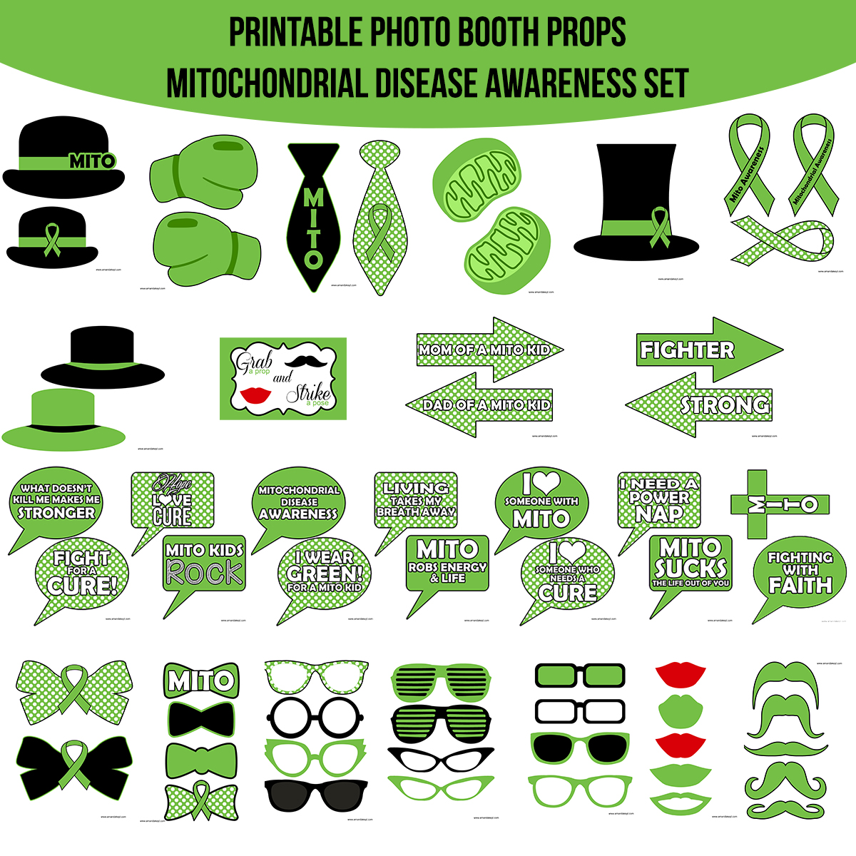 See the Set - To View The Whole Mitrochondrial Mito Disease Awareness Printable Photo Booth Prop Set Click Here