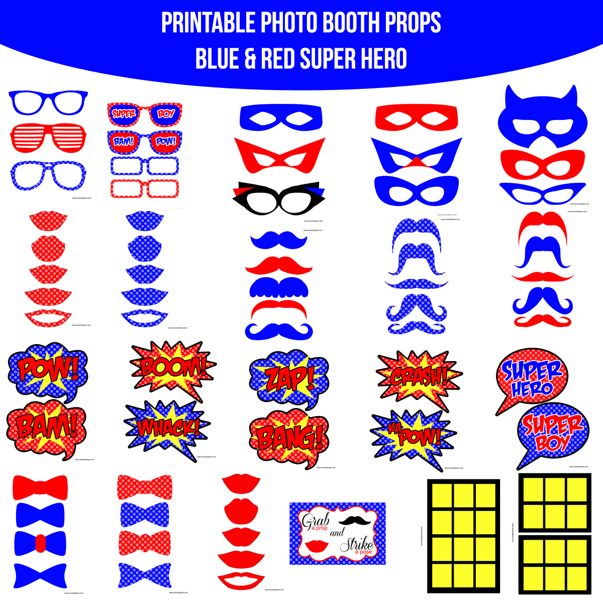 See the Set - To View The Whole Super Hero Blue Printable Photo Booth Prop Set Click Here