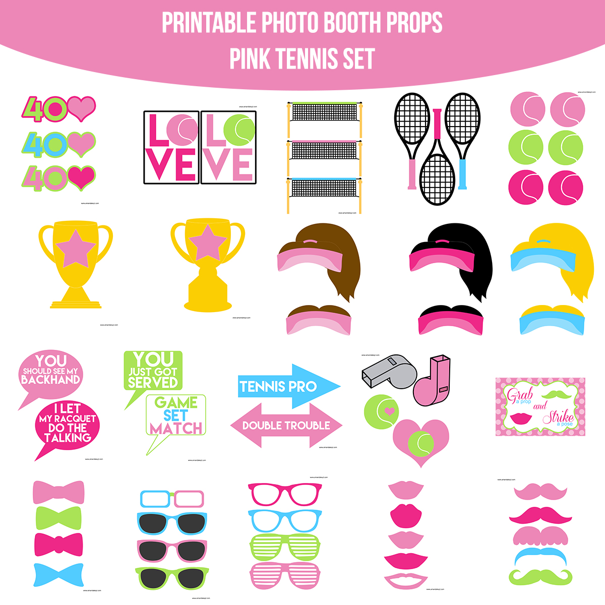 See the Set - To View The Whole Pink Tennis Printable Photo Booth Prop Set Click Here