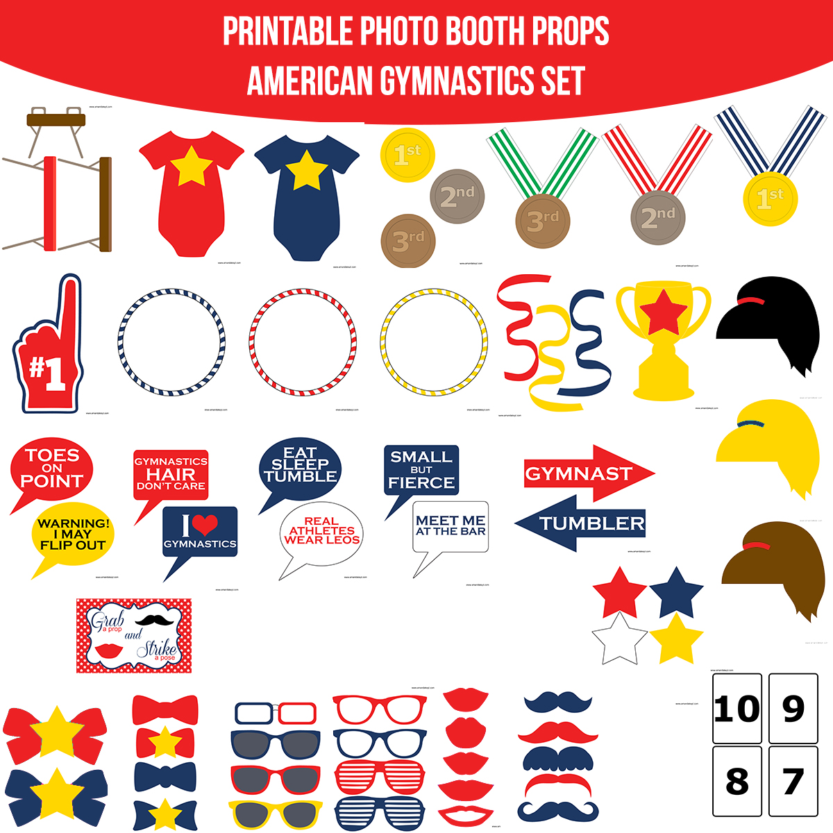 See the Set - To View The Whole American Gymnastics Printable Photo Booth Prop Set Click Here