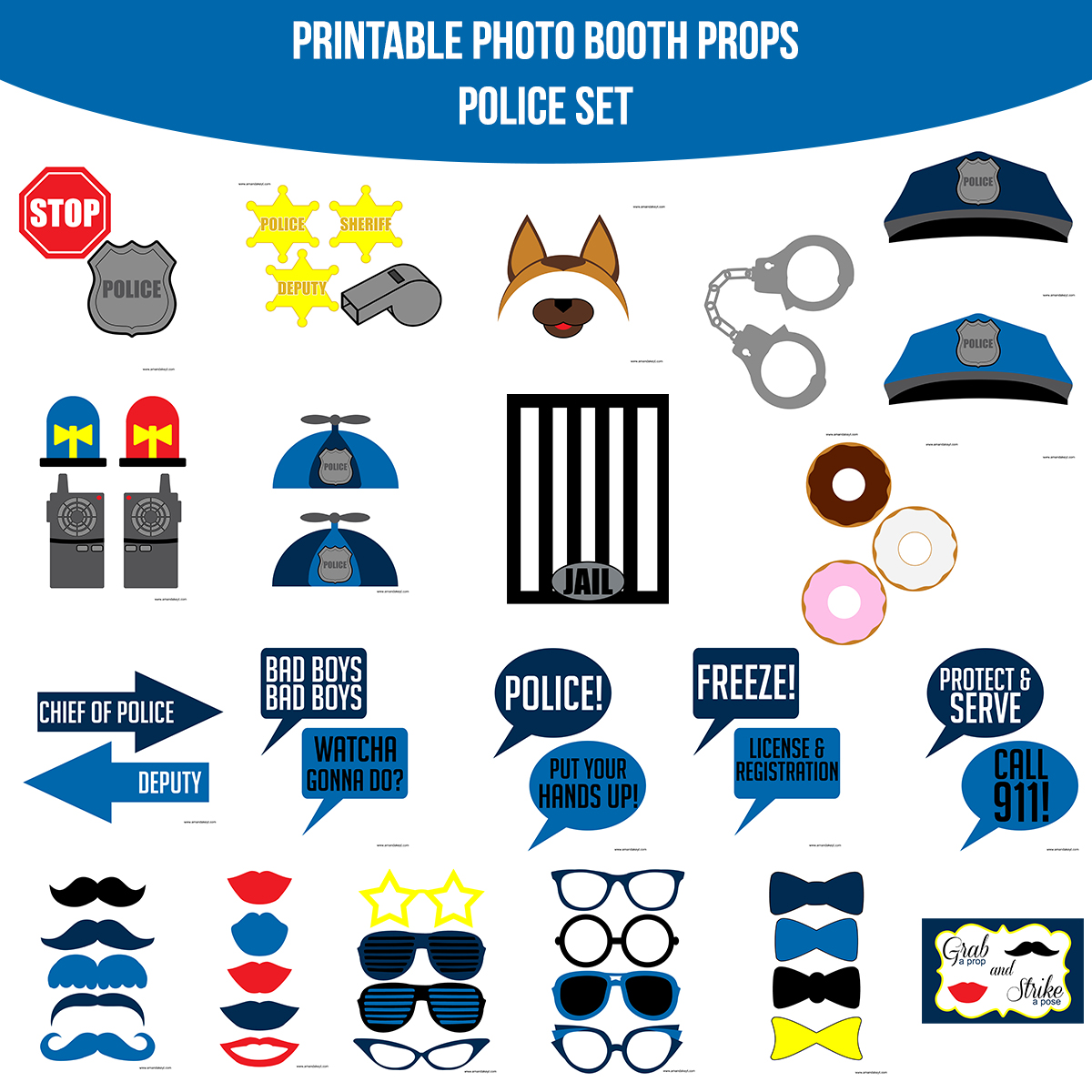 See the Set - To View The Whole Police Printable Photo Booth Prop Set Click Here