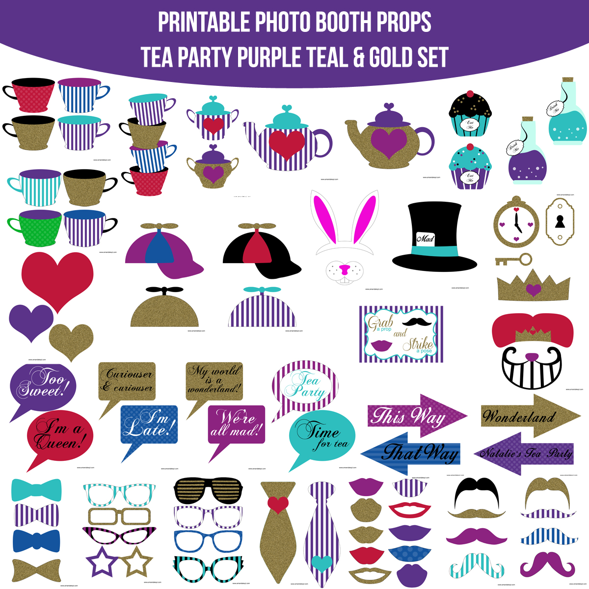 See the Set - To View The Whole Tea Party Purple Teal Gold Printable Photo Booth Prop Set Click Here