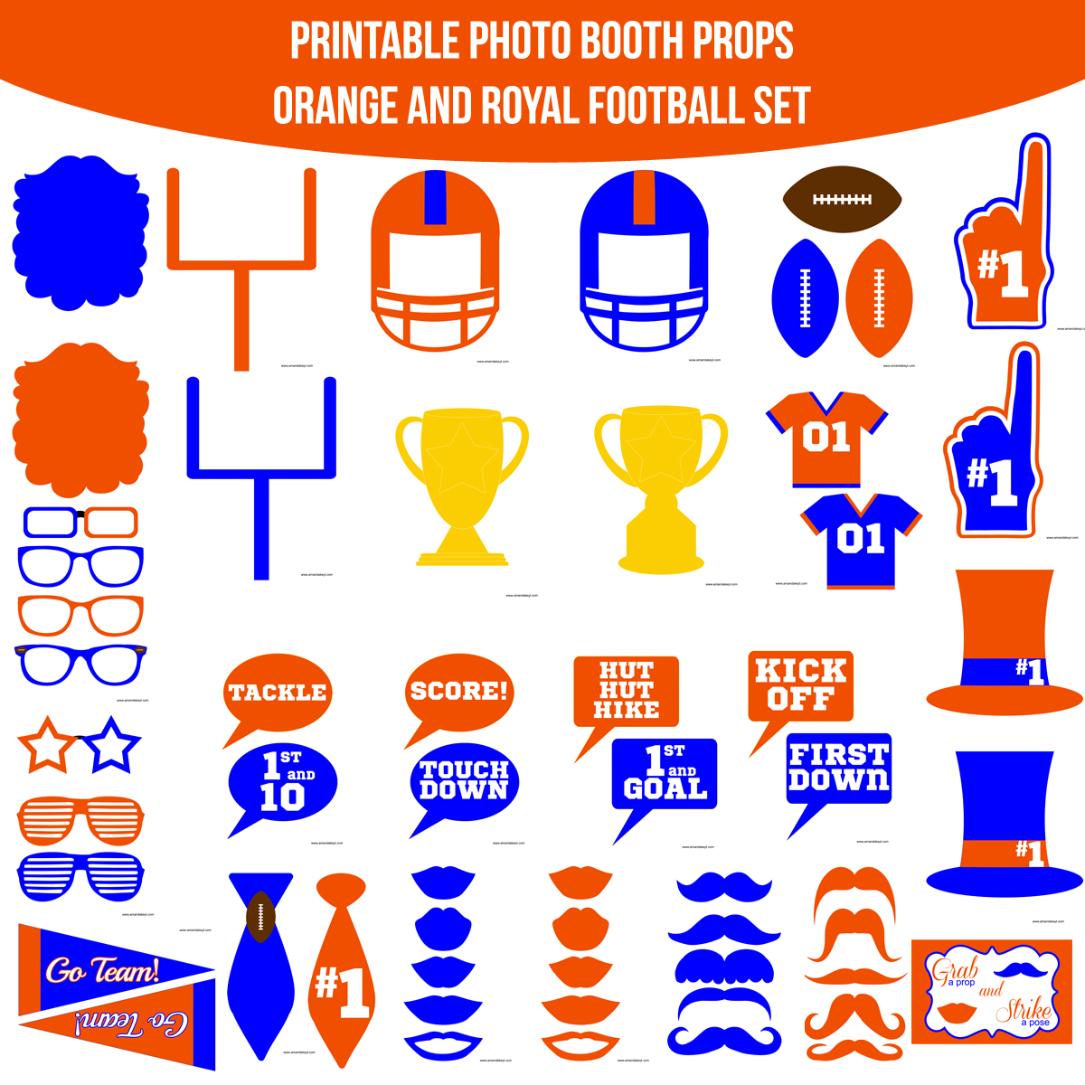See the Set - To View The Whole Football Orange Royal Printable Photo Booth Prop Set Click Here