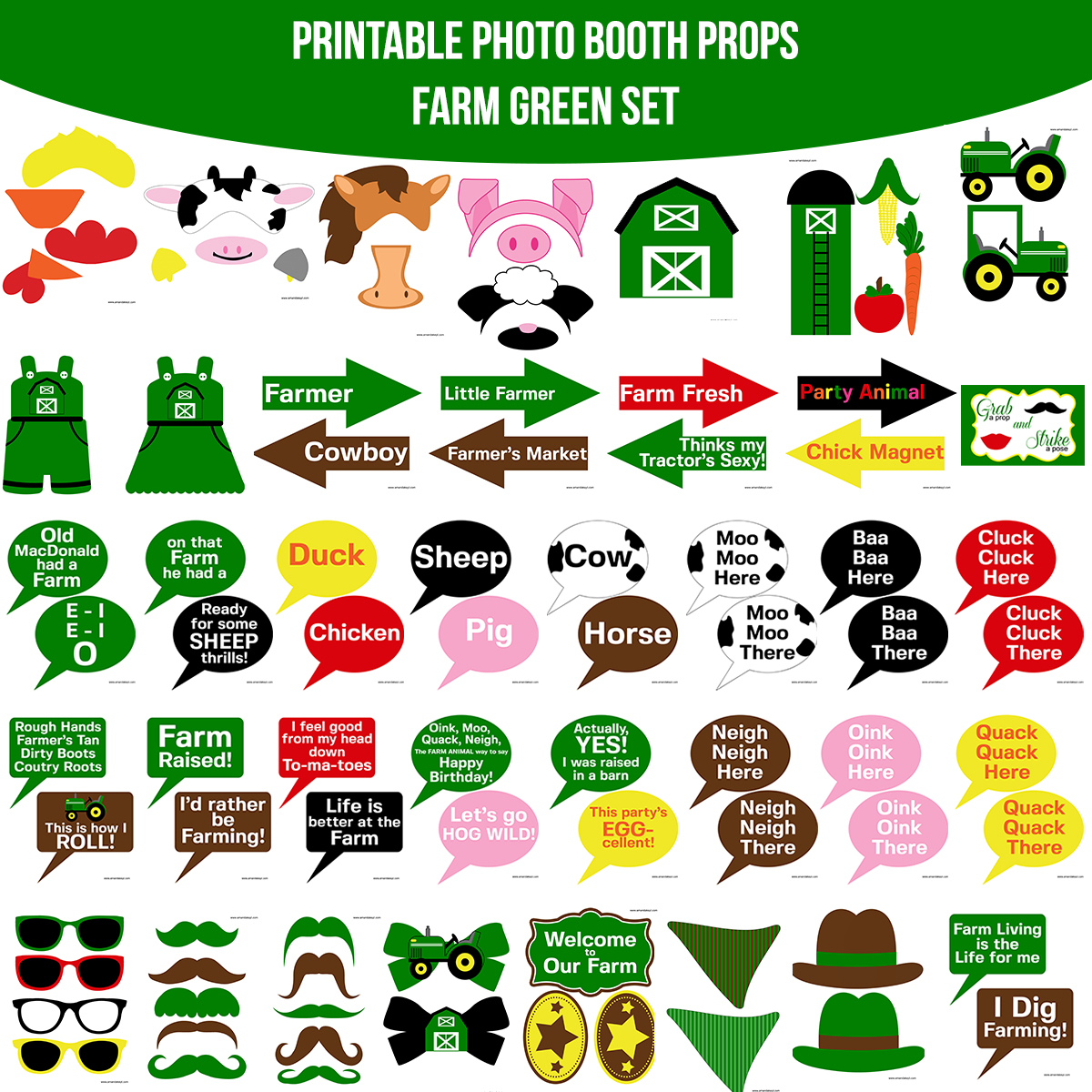 See the Set - To View The Whole Farm Green Printable Photo Booth Prop Set Click Here