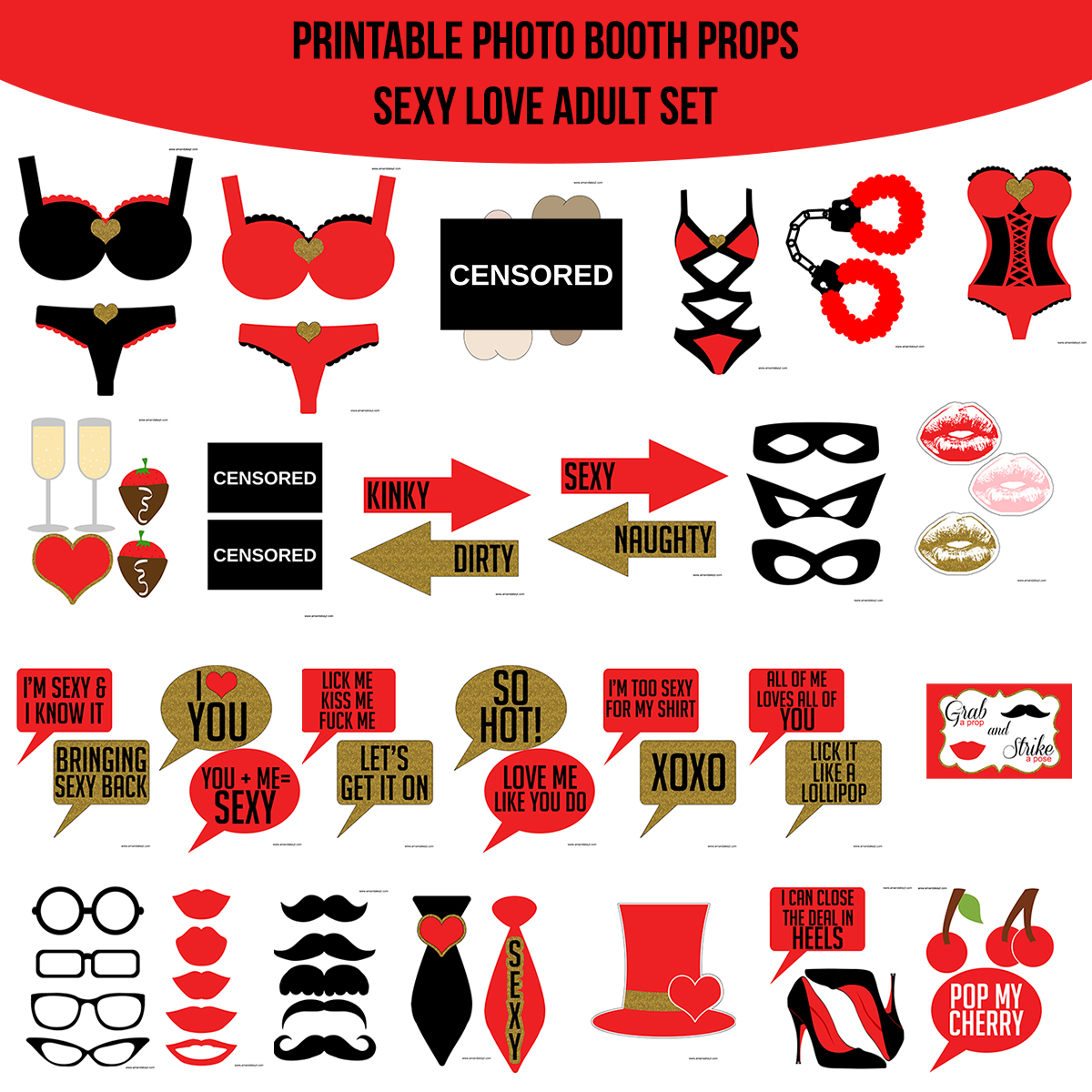 See the Set - To View The Whole Sexy Love Adult Bridal Shower Bachelorette Printable Photo Booth Prop Set Click Here
