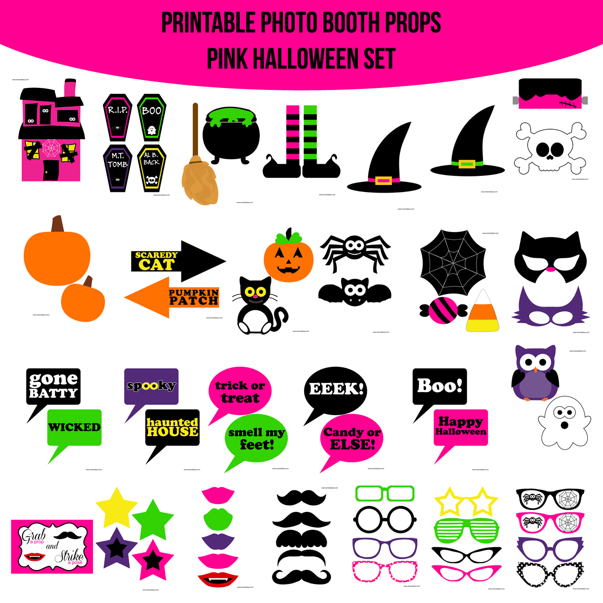 See the Set - To View The Whole Halloween Pink Printable Photo Booth Prop Set Click Here
